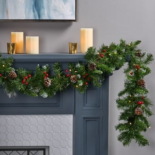 Link to 9-ft Mixed Spruce Clear LED Artificial Christmas Garland with Glitter Branches Red Berries& Pinecones by Christopher Knight Home Similar Items in Christmas Decorations
