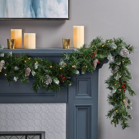 9-ft Mixed Spruce Clear LED Artificial Christmas Garland with Frosted Branches Red Berries Pinecones by Christopher Knight Home