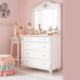 Cilek Romantic 4-drawer White Wood Dresser with Mirror