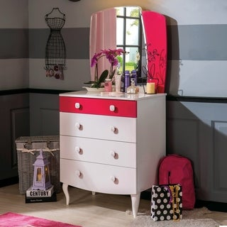 Cilek Rosa Pearl White and Purple Wood 4-drawer Dresser with Mirror