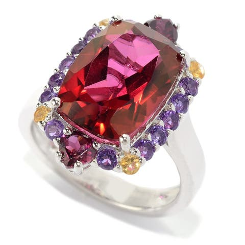 Sterling Silver 6.85ctw Red Quartz Ring