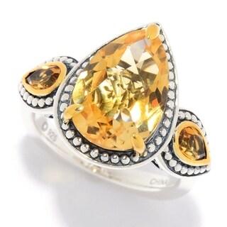 Pinctore Multi Citrine 3-Stone Beaded Ring
