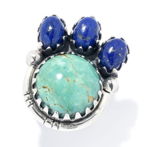 Sterling Silver Tyrone Turquoise Gemstone Oxidized Ring