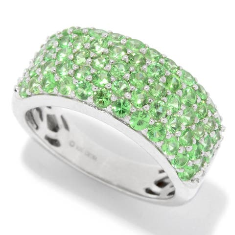 Sterling Silver 1.90ctw Tsavorite Five-Row Band Ring