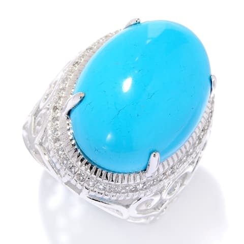 Sterling Silver Sonora Beauty Turquoise & White Topaz Ring