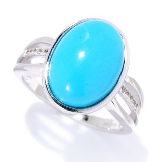 Pinctore Sterling Silver Sonora Beauty Turquoise White Topaz Ring