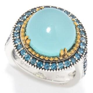 Pinctore Sterling Silver 7.20ctw Aqua Chalcedony & London Blue Topaz Halo Ring