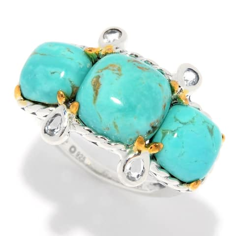 Pinctore Sterling Silver Cushion Shaped Tyrone Turquoise & White Topaz Ring
