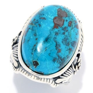 Pinctore Sterling Silver 24 x 16mm Oval Chrysocolla Flower Ring