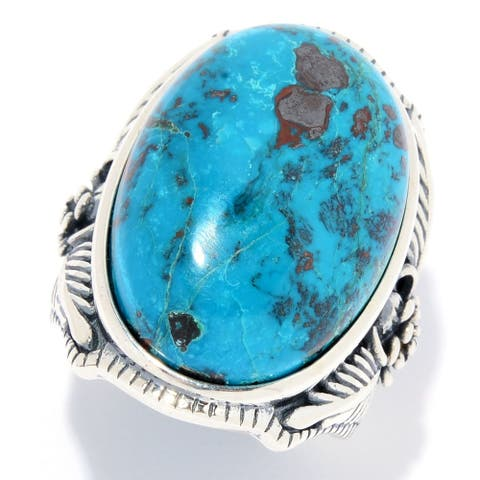 Sterling Silver 24 x 16mm Oval Chrysocolla Flower Ring
