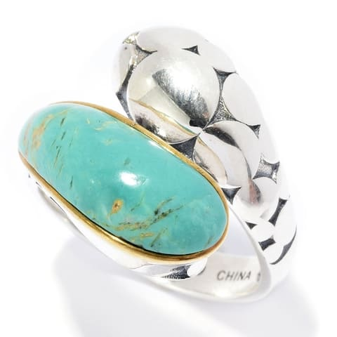 Sterling Silver 17.5 x 6.5mm Tyrone Turquoise Bypass Ring