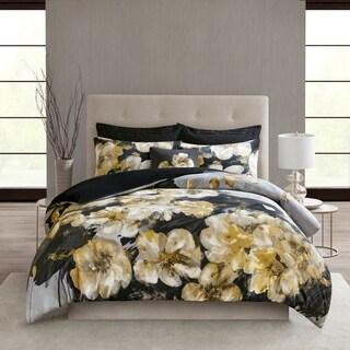 N Natori Casa Noir Multi 3 Piece Cotton Duvet Cover Set