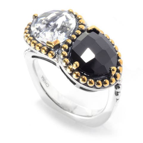 Sterling Silver Two-tone 11 x 9mm Pear Shaped Gem 2-Stone Ring