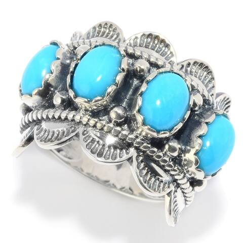 Sterling Silver Kingman Turquoise Scalloped Edge Band Ring