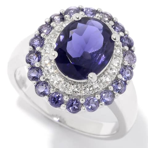 Pinctore Sterling Silver Iolite & White Topaz Double Halo Ring