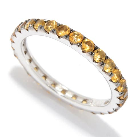 Pinctore Sterling Silver Citrine Band Ring