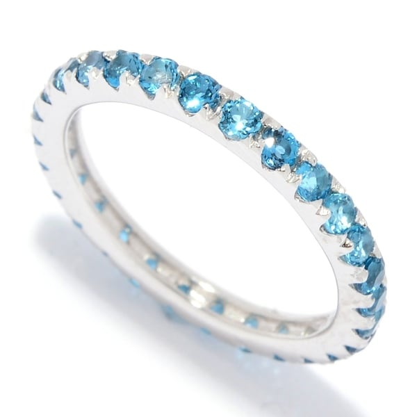 1966314aec4ea Pinctore Sterling Silver London Blue Topaz Band Ring