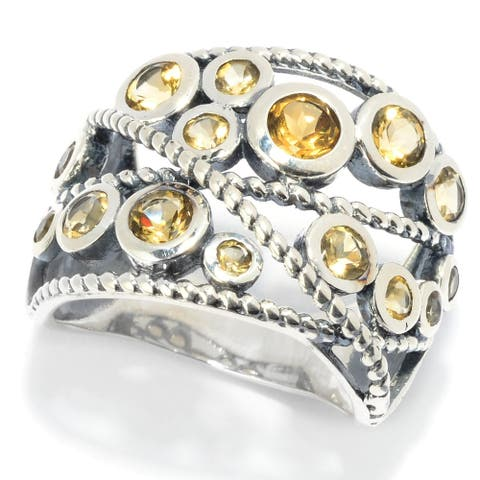 Sterling Silver Round Citrine Beaded Wide Band Ring