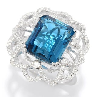 Pinctore Sterling Silver 7.49ctw London Blue Topaz & Gemstone Flower Ring