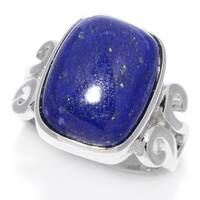 Pinctore Sterling Silver 16 x 12mm Cushion Shaped Lapis Lazuli Scrollwork Ring