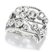 Pinctore Sterling Silver Round White Topaz Beaded Wide Band Ring