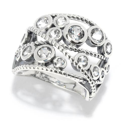 Sterling Silver Round White Topaz Beaded Wide Band Ring