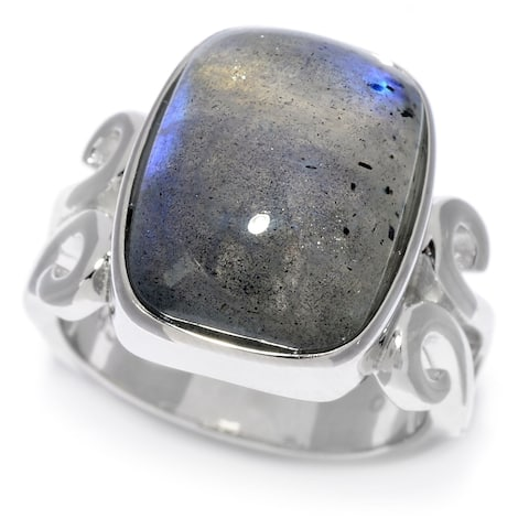 Pinctore Sterling Silver Cushion Shaped Labradorite Scrollwork Ring