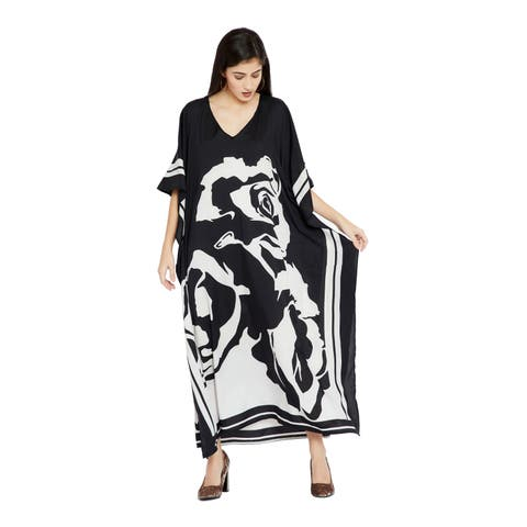 Women Long Dress Black Caftan Rose Printed Plus Size Ladies Kaftan Top