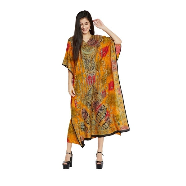 3c3570cf145 Yellow Caftan Womens Floral Plus Size Kaftan Maxi Casual Evening Dress
