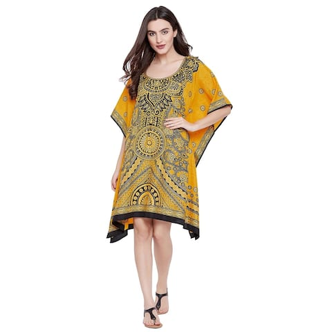 8f72094d47a Women Floral Tunic Top Yellow Short Caftans Dress Knee Length Kaftan