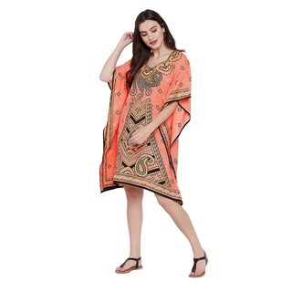 Womens Tunics Tops Dress Paisley Peach Short Caftan Knee Length Kaftan