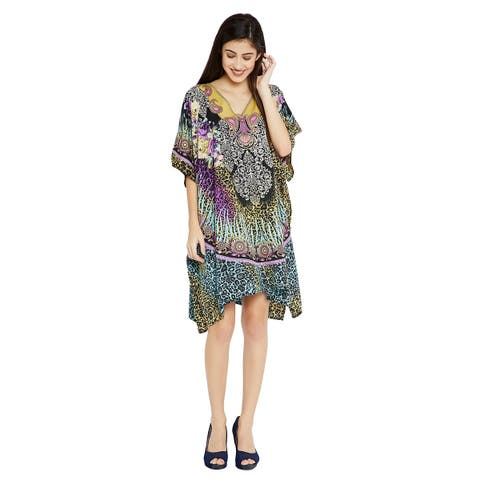 Women Casual Leopard Print Purple Short Caftan Tunic Top Kaftan Dress