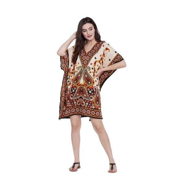 Shop Cream Short Caftans Women Paisley Plus Size Tunics Tops ...