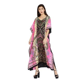 Women Lady Plus Size Pink Floral Kaftan Long Casual Dress Caftan Maxi