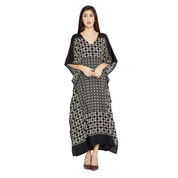 53781ef7e1d Shop Black Caftan Women Geometric PlusSize Kaftan Dress Maxi Casual ...