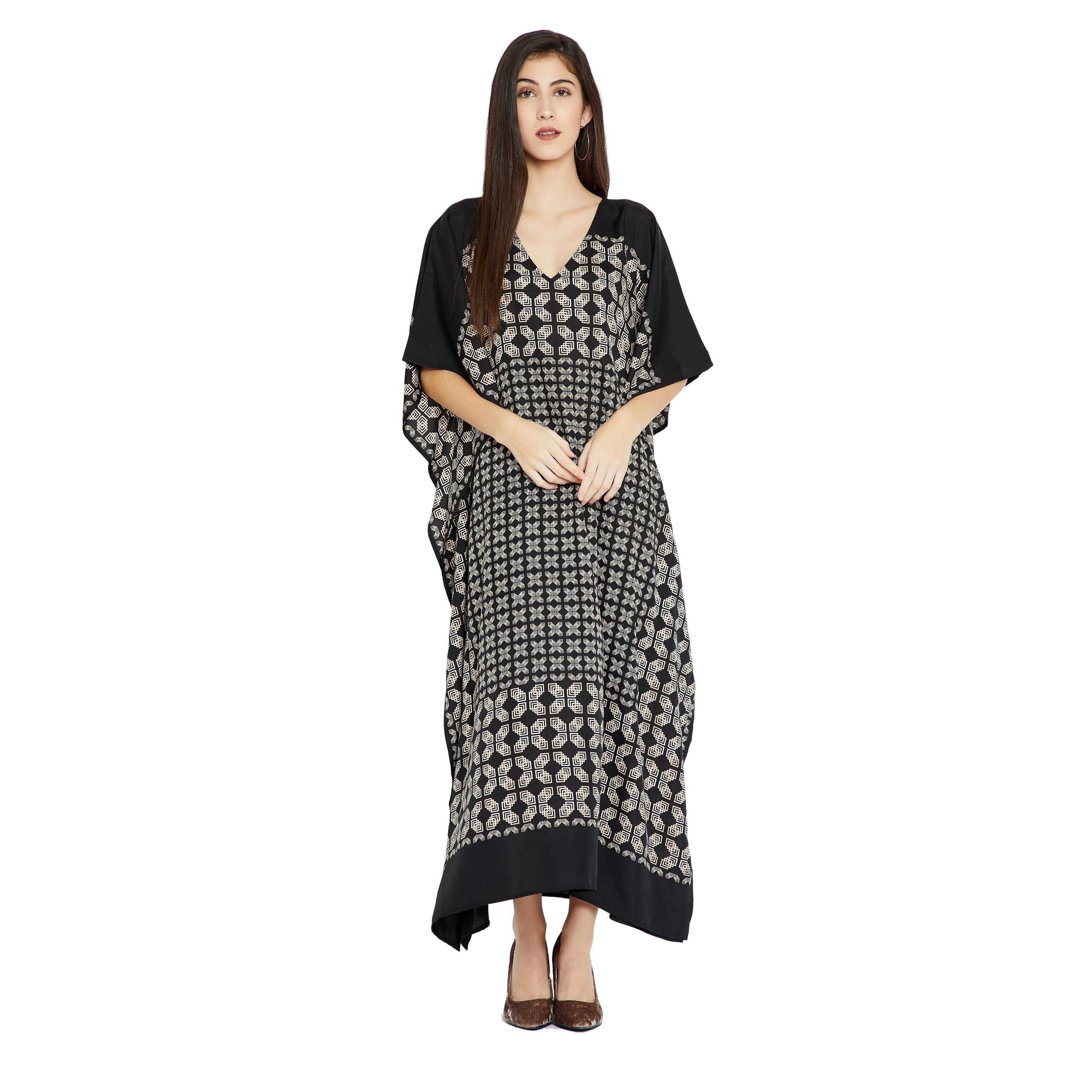 Black Caftan Women Geometric PlusSize Kaftan Dress Maxi Casual Evening