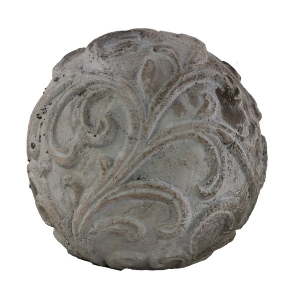 Urban Trends Cement Ornamental Sphere with Embossed Swirl Design in Washed Finish, Large - Gray