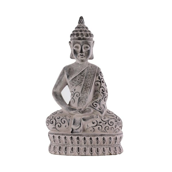 Urban Trends Cement Meditating Buddha Figurine with Pointed Ushnisha in Dhyana Mudra on Double Lotus Base Washed Finish, Gray