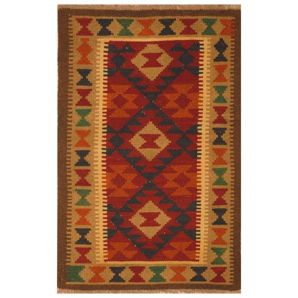 Handmade Herat Oriental Afghan Hand-woven Mimana Wool Kilim (27 x 41)