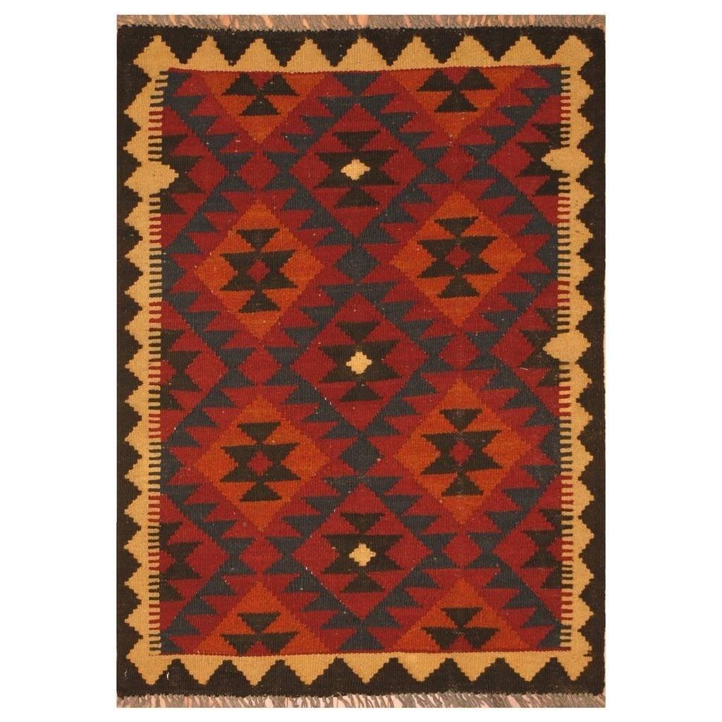 Handmade Herat Oriental Afghan Hand-woven Mimana Wool Kilim (25 x 34)