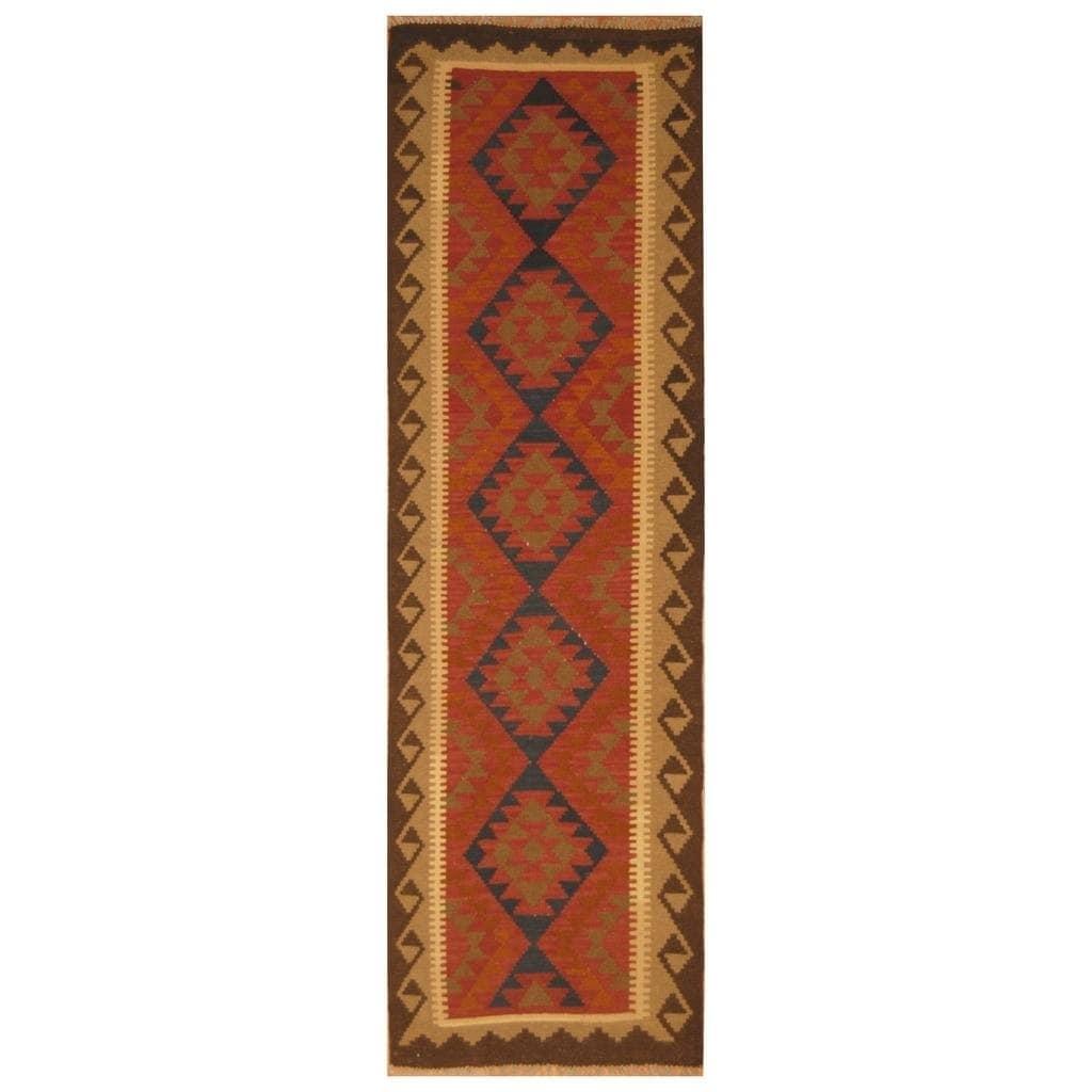 Handmade Herat Oriental Afghan Hand-woven Mimana Wool Kilim (29 x 93)