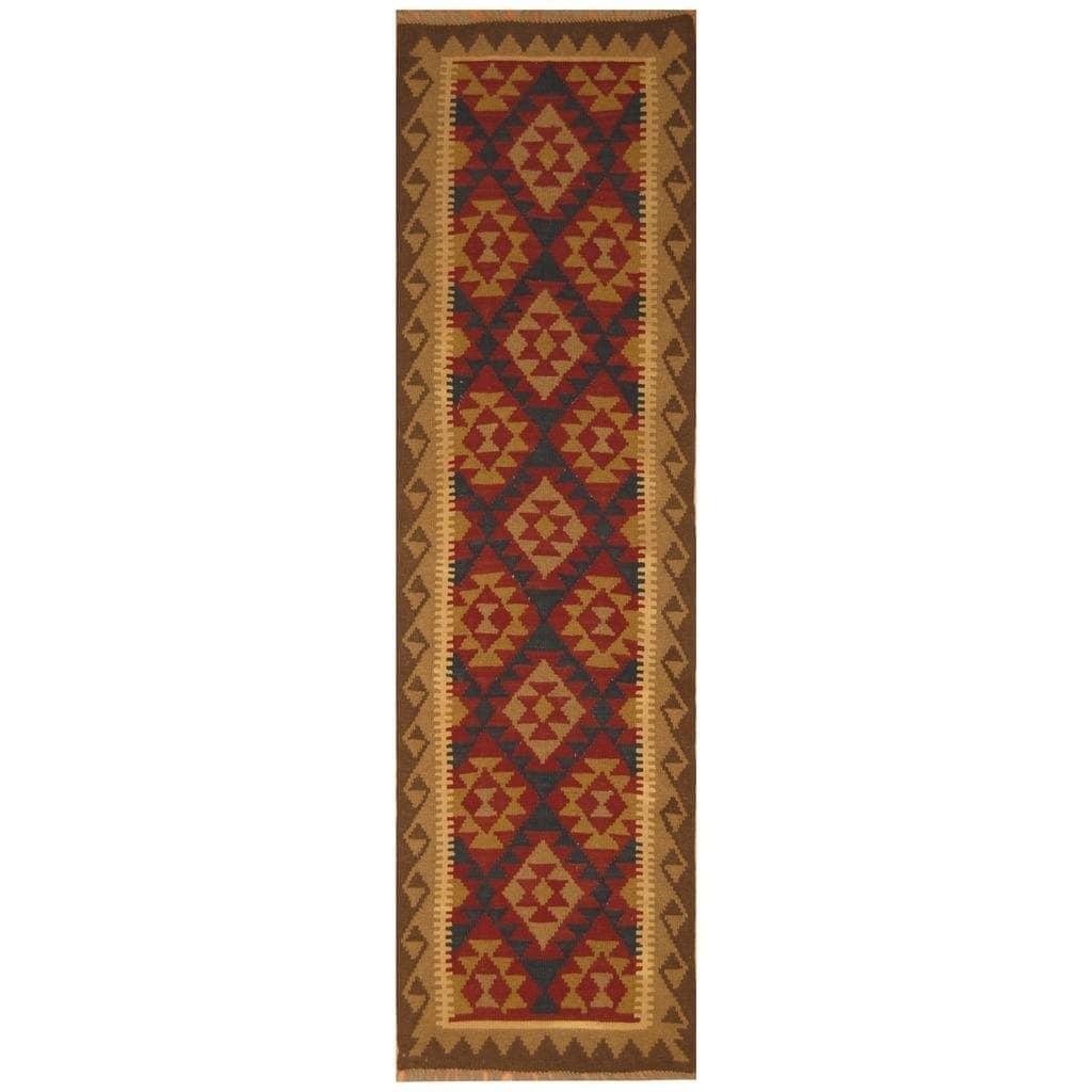 Handmade Herat Oriental Afghan Hand-woven Mimana Wool Kilim (29 x 96)
