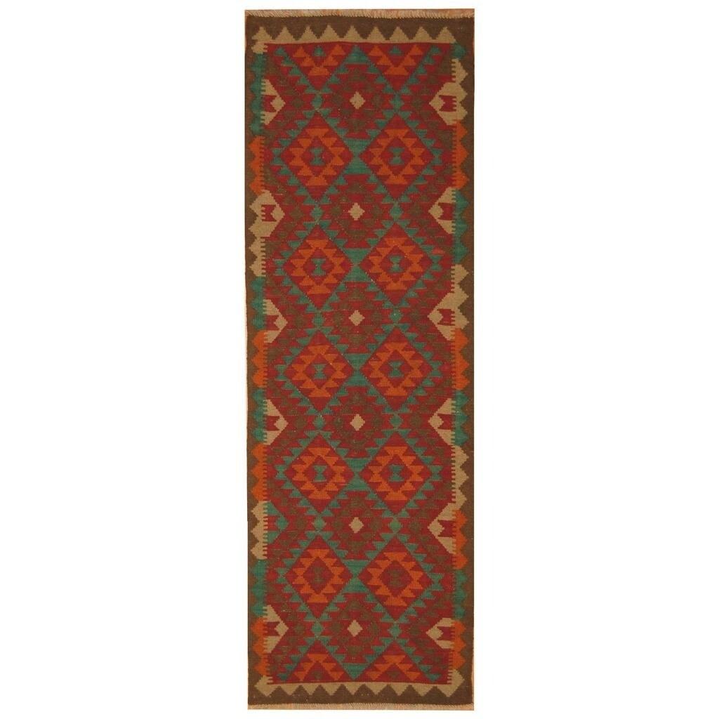 Handmade Herat Oriental Afghan Hand-woven Mimana Wool Kilim (210 x 91)