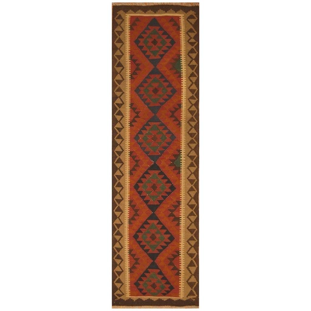 Handmade Herat Oriental Afghan Hand-woven Mimana Wool Kilim (29 x 97)