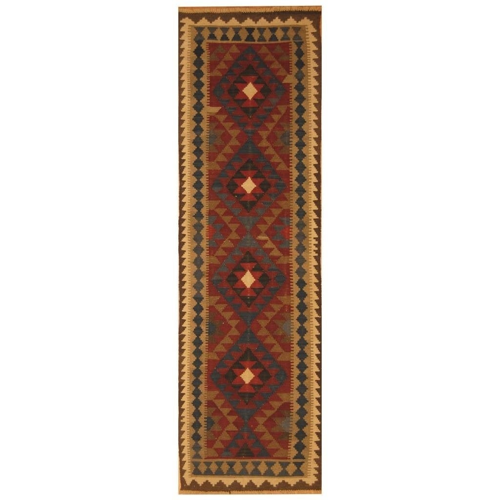 Handmade Herat Oriental Afghan Hand-woven Mimana Wool Kilim (28 x 94)