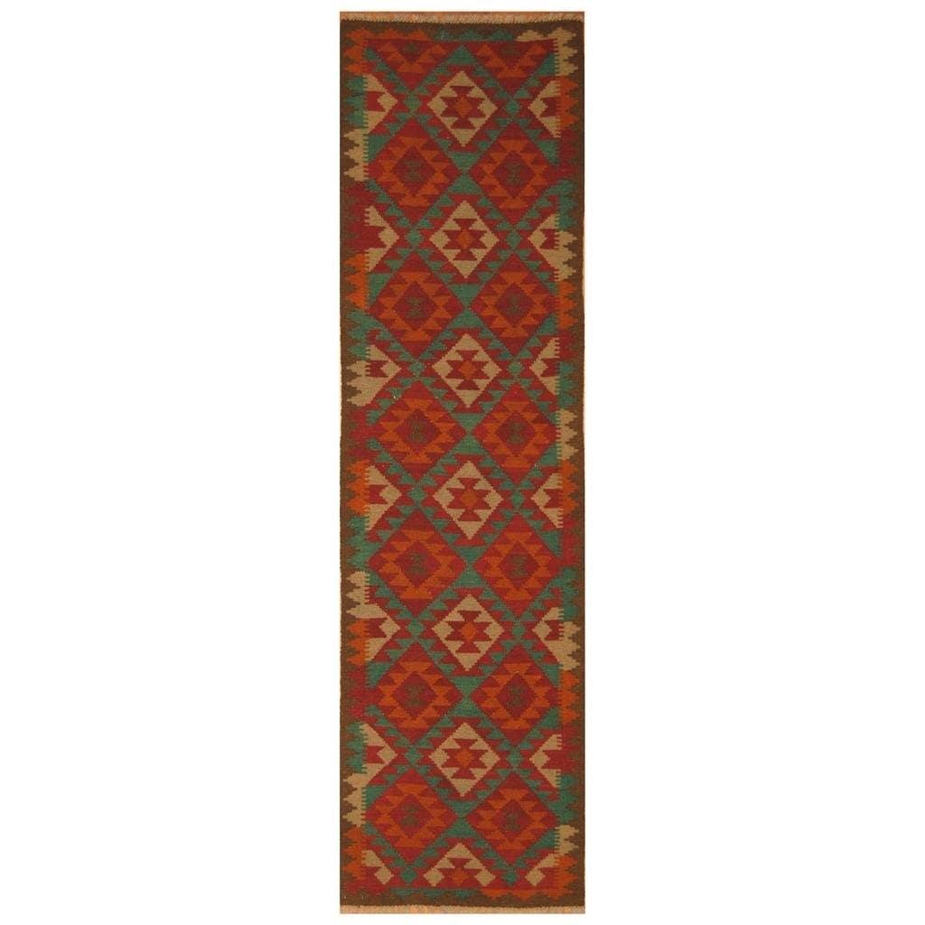 Handmade Herat Oriental Afghan Hand-woven Mimana Wool Kilim (27 x 96)