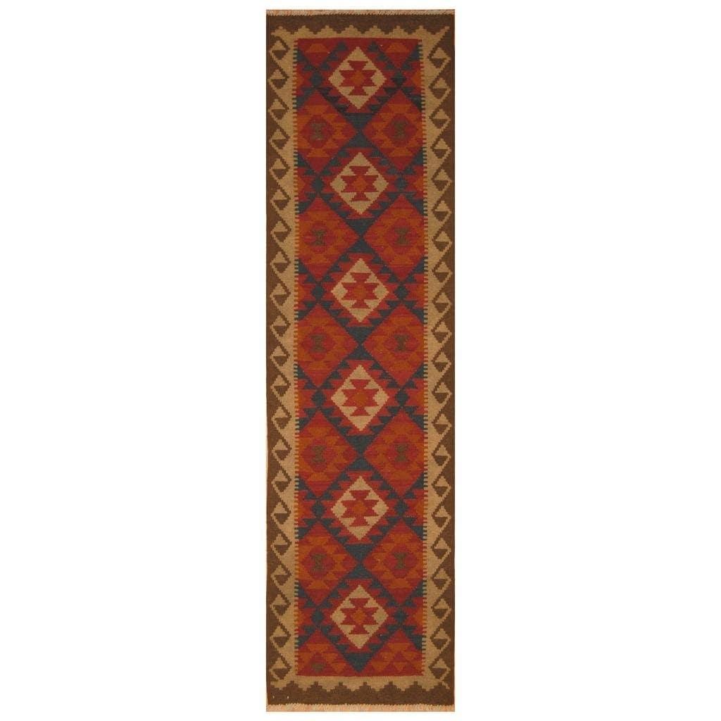 Handmade Herat Oriental Afghan Hand-woven Mimana Wool Kilim (26 x 98)