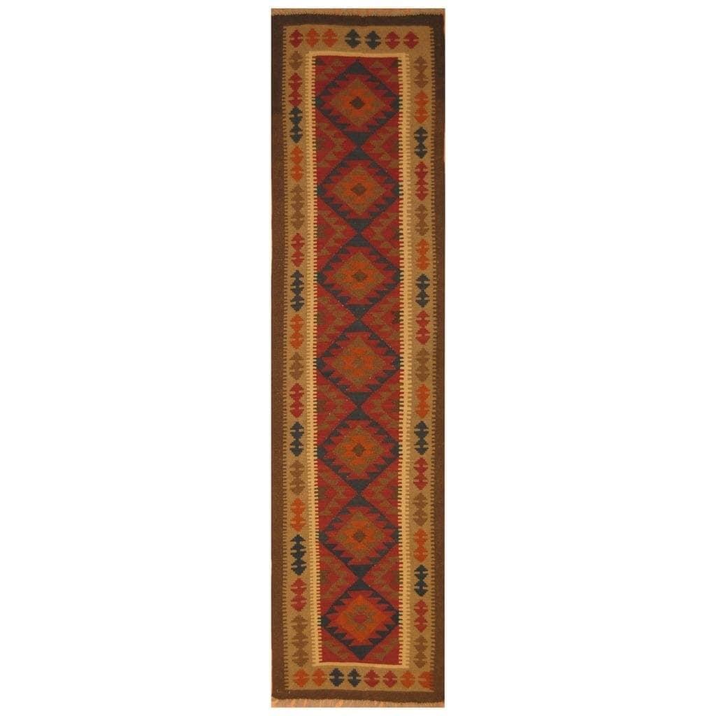 Handmade Herat Oriental Afghan Hand-woven Mimana Wool Kilim (25 x 96)