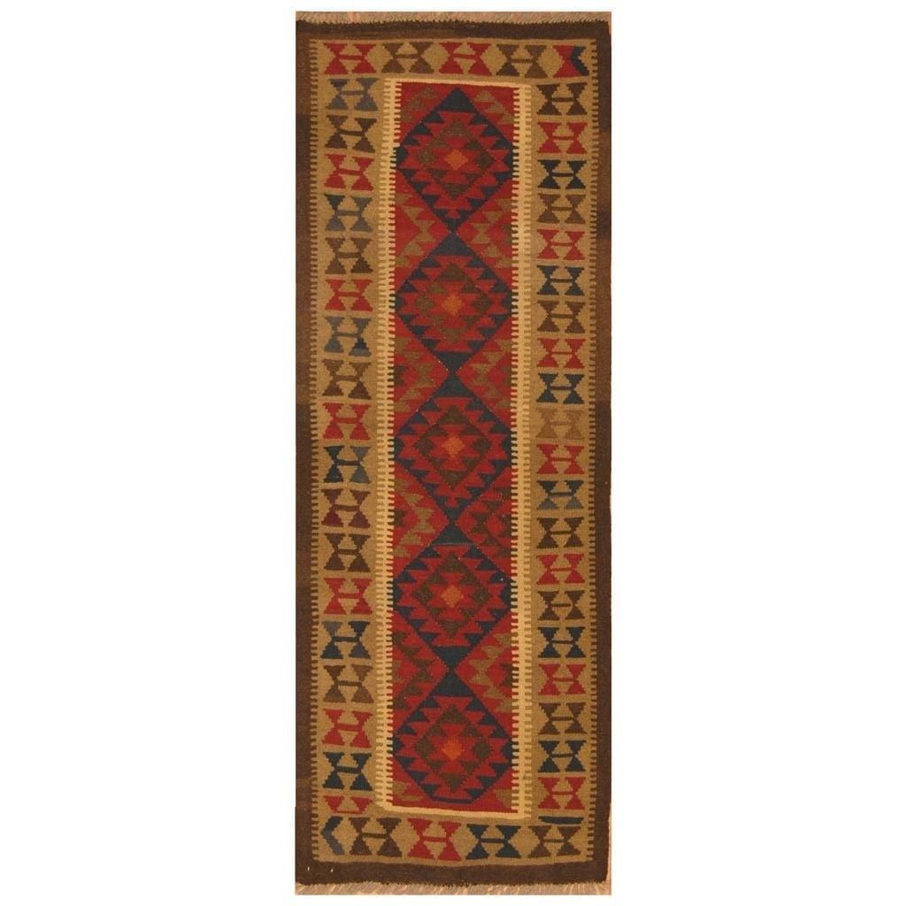 Handmade Herat Oriental Afghan Hand-woven Mimana Wool Kilim (25 x 66)