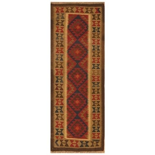 Handmade Herat Oriental Afghan Hand-woven Mimana Wool Kilim (2'5 x 6'6)